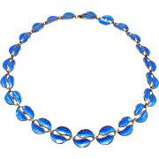 David Andersen Norway Blue Leaves Necklace 925s Pretty