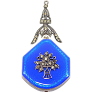 Art Deco Cobalt Enamel Watch Pendant Marcasites