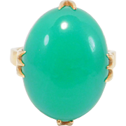 18K Chrysoprase Agate Filigree Ring Beautiful Retro