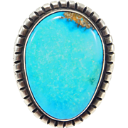 Large Navajo George Begay Signed Turquoise Ring Sterling