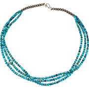 Nice Older Heishi Turquoise Necklace Silver With Bear Fetish