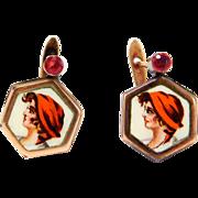 Victorian Enamel Figural Rose Gold Earrings 10K
