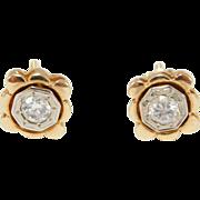 Antique 14k Diamond Stud Earrings .30 T.W. Pretty Deco Design