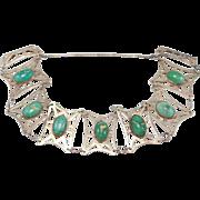Sterling Arts & Crafts Turquoise Bracelet Rare