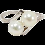 Elegant Silver Mikimoto Cultured Pearl Ring Estate