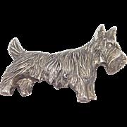 Vintage Sterling Scotty Dog Brooch Terrier So Cute