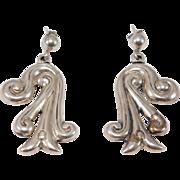 Mexican Silver Vintage Drop Earrings Pierced Taxco