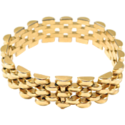 Pretty Retro Gatelink Gold Tone Bracelet Heavy