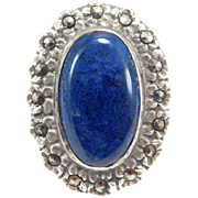 Art Deco Sterling Sodalite And Marcasites Ring