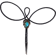 Navajo Artist Signed Sterling Turquoise Bolo Tie Vintage