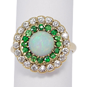 Victorian 18K Opal Mine Cut Diamonds And Demantoid Ring Circa 1900 Very Rare