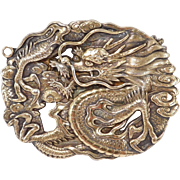Meiji Period Japanese Silver Signed Dragon Necklace Very Detailed Silver