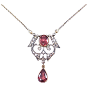 Edwardian 18k Diamond And Tourmaline Lavalier Necklace Gorgeous