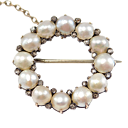Georgian Natural Pearl And Rose Cut Diamonds Brooch 10k Rose Gold 1800's