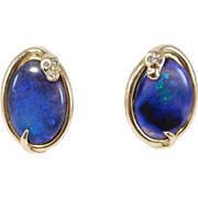 Rare Natural Black Opal 14k Diamond And Snake Earrings Estate Fine