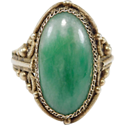 Old Chinese Silver Filigree Natural Jade Ring Gorgeous