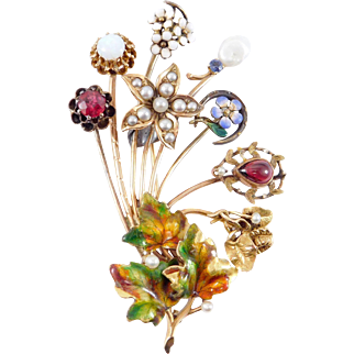 14k Beautiful Stickpin Stick Pin Victorian Brooch Enamel Pearls Unique
