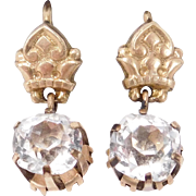 Victorian Cushion Cut Paste Rose Gold Filled Earrings Beautiful