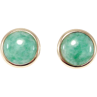 14k Jade Cabochon Stud Earrings Estate Fine