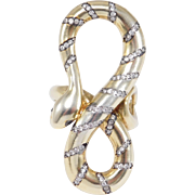 Highly Unusual Snake Ring With Diamonds Vermeil Large