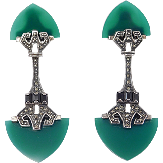 Sterling Chrysoprase Marcasite Deco Design Earrings