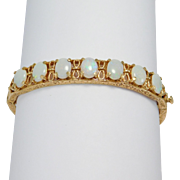 14k Estate Opals Engraved Filigree Bangle Bracelet Beautiful