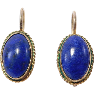 Silver Vermeil Chinese Lapis Leverback Earrings Vintage