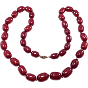 Gorgeous Strand Faturan Cherry Amber Bakelite Beads Old 78 Grams Large Beads