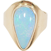 Estate 14k Gorgeous Opal Ring Amazing Fire Green Blue