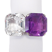Art Deco 18k Filigree Amethyst Quartz Ring Unique Beautiful