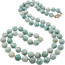 Natural Jade Beads With 14k Cultured Pearl Clasp 8mm 26 Inches Estate
