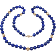 Fine Estate 10MM Lapis And 14K Beads Excellent Quality 26 Inches