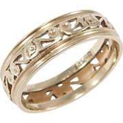 Pretty 14k Rose Gold Art Deco Wedding Engagement Band Filigree