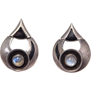 Stunning Modernist Moonstone And Enamel Earrings