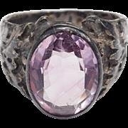 Old Sterling Amethyst Ring Scottish Thistle Design