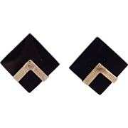 Modernist Black Onyx 14k 585 Geometric Post Stud Earrings