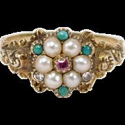 Georgian 14k Pearl Ruby Turquoise Diamond Ring Locket Back C.1830