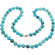Beautiful 10mm Antique Chinese Turquoise Beads Necklace