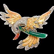 Estate 14k Bird Of Paradise Brooch Clip 2 Plus Carats Of Diamonds Enamel Sapphire