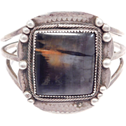 Old Pawn Navajo Petrified Wood Silver Cuff Bracelet