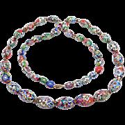 Gorgeous Art Deco Rare Murano Millefiori Italian Glass Beads Necklace