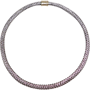 John Hardy Sterling 18k Woven Silver Necklace Collar Estate