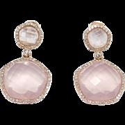Estate Fine 14k Rose Gold Diamonds & Faceted Rose Quartz Earrings Signed