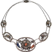 Old Filigree Chinese Silver Necklace With Coral Marked Very Ornate