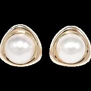 14k Estate Mabe Pearl Earrings Omega Backs