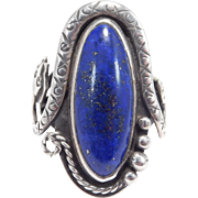 Ornate Sterling Lapis Ring With Snake Motif Amazing