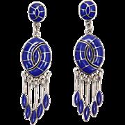 Long Ornate Silver Lapis Earrings Southwest Design
