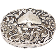 Ornate Chinese Silver Repousse Pill Box Old