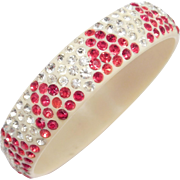 Wide Red And White Rhinestone Celluloid Bangle Art Deco