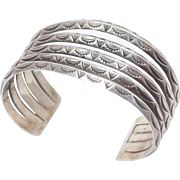 Sterling Navajo Wide Stampwork Cuff Bracelet Pawn